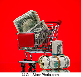 Market cart over color background