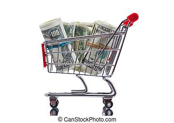 Mercado, carrito, dinero