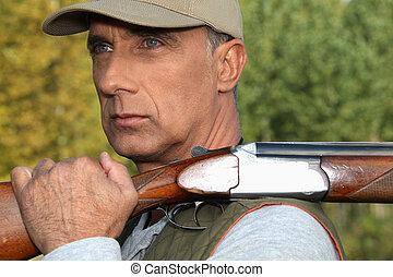 rifle, cazador, Aire libre