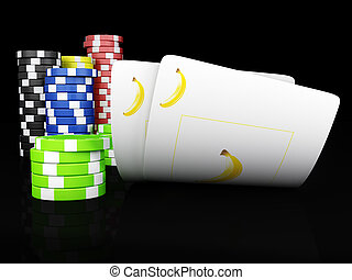Playing cards - Fruits poker - Stack of chips and two aces