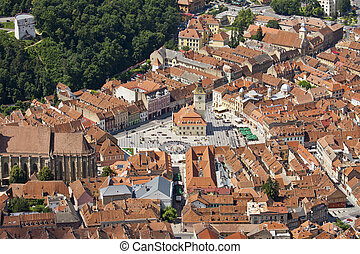 Cityscape of Brasov - Aerial view of Council Square, Brasov,...