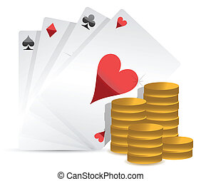 Poker cards and gambling money