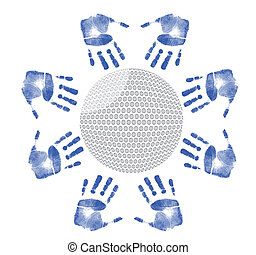 hands around a golf ball illustration design on white