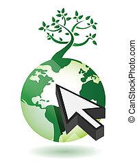 Tree on a globe with an arrow
