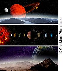 ilustrado, diagrama, mostrando, ordem, planetas, nosso,...