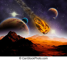 Attack of the asteroid on the planet in the universe....