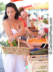 Woman shopping at local market