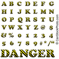 Exclusive collection letters with danger stripes on white...