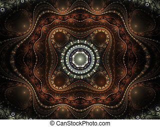 Abstract color image on a black background. Curves and...