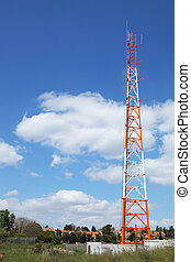 Aerial mast in the small village - Aerial metallic red and...