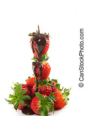 Tower of strawberries with melted chocolate