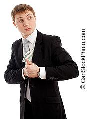 hombre, poniendo, dinero, el suyo, bolsillo