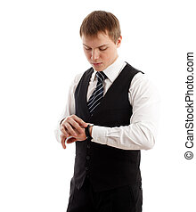 Young man checking time Isolated over white