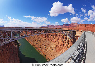 Sleek bridge in the Navajo Reservation - Sleek modern bridge...