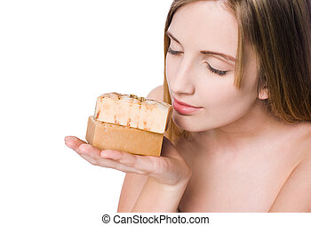 Spa beauty with hand crafted organic soap. - Portrait of spa...
