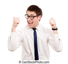 Man gesturing success sign. Isolated over white.