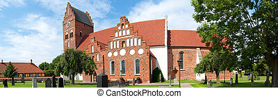 Ahus church panorama 02 - A panoramic image of an old...