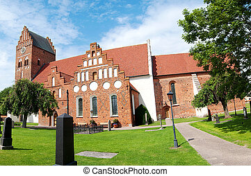 Ahus church panorama 03 - A panoramic image of an old...
