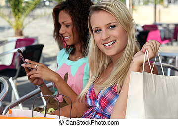 Two woman on shopping trip