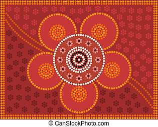 Aboriginal style of dot pain flower - A illustration based...