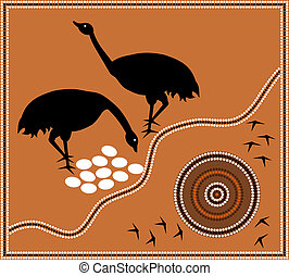 Aboriginal style of dot paintin emu - A illustration based...