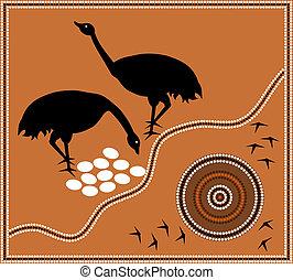 Aboriginal style of dot paintin emu - A illustration based...