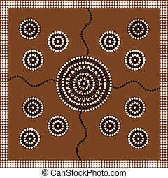 Aboriginal style of dot painting depicting circle - A...