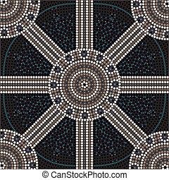 A illustration based on aboriginal style of dot painting depicting circle.