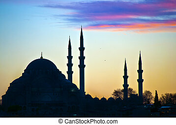 Suleiman Mosque 01 - A silhouetted view of the majestic...