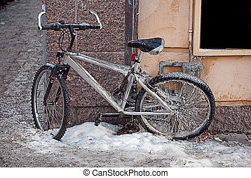 iced bicycle - A bicycle sits parked and completely iced up...