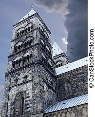 Lund cathedral - upwards view of Lund cathedral with storm...