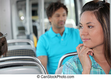 Young person on the bus