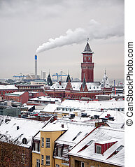 Helsingborg winter 01 - A winter cityscape view of the...
