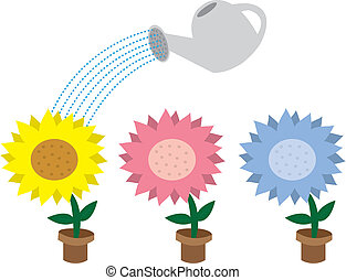 Flowers and watering can