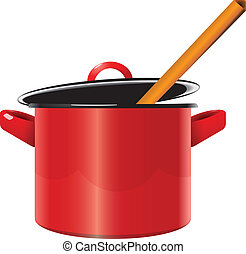 Enameled saucepan - Red enameled saucepan with a lid and a...