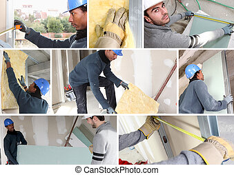 Montage of builders fitting insulation and plasterboard
