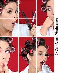 Woman in hairdresser salon