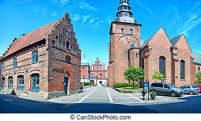 Ystad church panorama 02 - A panoramic image of an old...