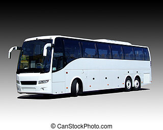 blank white bus - A white tour bus isolated on a black and...