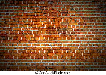 Red Brick Wall Texture with vignette - A typical view of a...