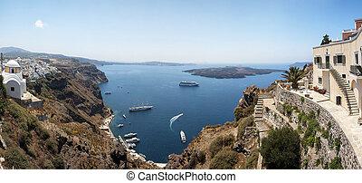 Santorini caldera Panorama - A panoramic image from...