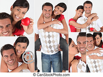 Collage of a couple in love