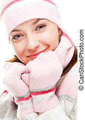 Beautiful woman wearing winter clothes - Beautiful woman...