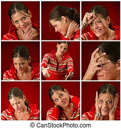 Collage of a young woman making faces