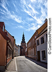 Ystad church 03 - A street view image of an old medieval...