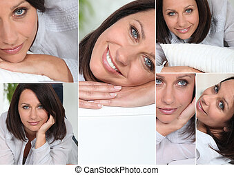 many facial expressions of a brunette woman