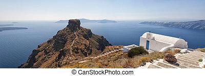Skaros panorama - A panoramic image from Santorini of a...