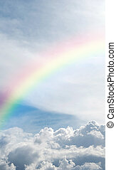 Heavenly rainbow - A heavenly rainbow set against a...