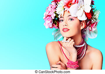 fresh spring - Portrait of a beautiful spring girl wearing...