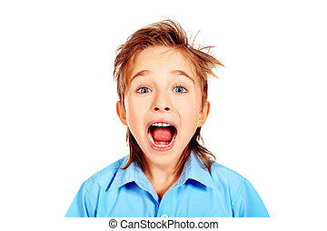 feared boy - Portrait of a shouting boy Isolated over white...